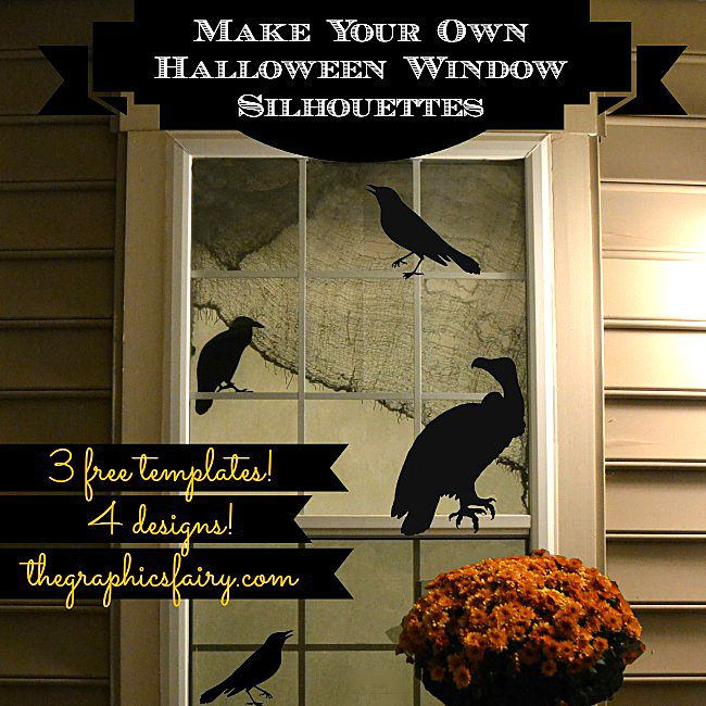 Make Halloween Window Silhouettes! Free Printables included, check it out!! #Halloween #Printables