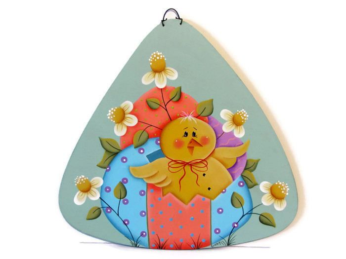 Spring Chick with Easter Eggs and Daisies Sign, Handpainted Wood, Hand Painted Home Decor Wall Art, Wall Hanging, Tole Decorative Painting by ToleTreasures on Etsy