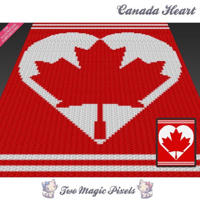 Canada Heart c2c graph crochet pattern; instant PDF download; baby blanket…