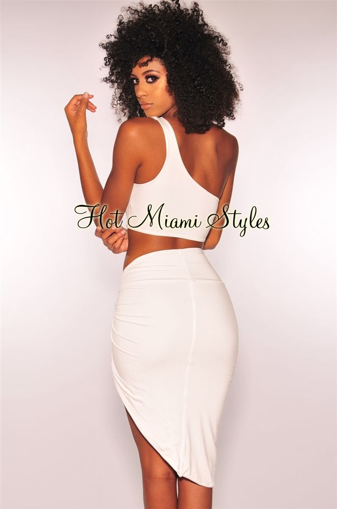 9eee4619ae7 White One Shoulder Knotted Slit Two Piece Set en 2019 | SEXY ...