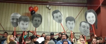 BIG HEADS  Engineer prints from staples Around $5 each for 3x4 foot.    Glued to foam core and cut out.  Used to make BIG HEADS for senior night and championship games.