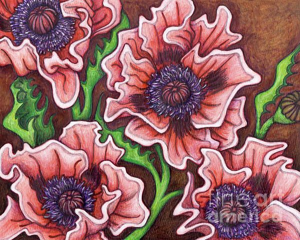 Oriental Poppies Little Candy Floss By Amy E Fraser Flower Painting Floral Painting Floral