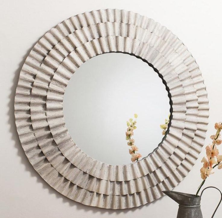 Large Round Trendy Cream Wall Mirror with Rippled Design - HP170083 http://www.haysominteriors.com/product/large-round-trendy-cream-wall-mirror-with-rippled-design/170083.html