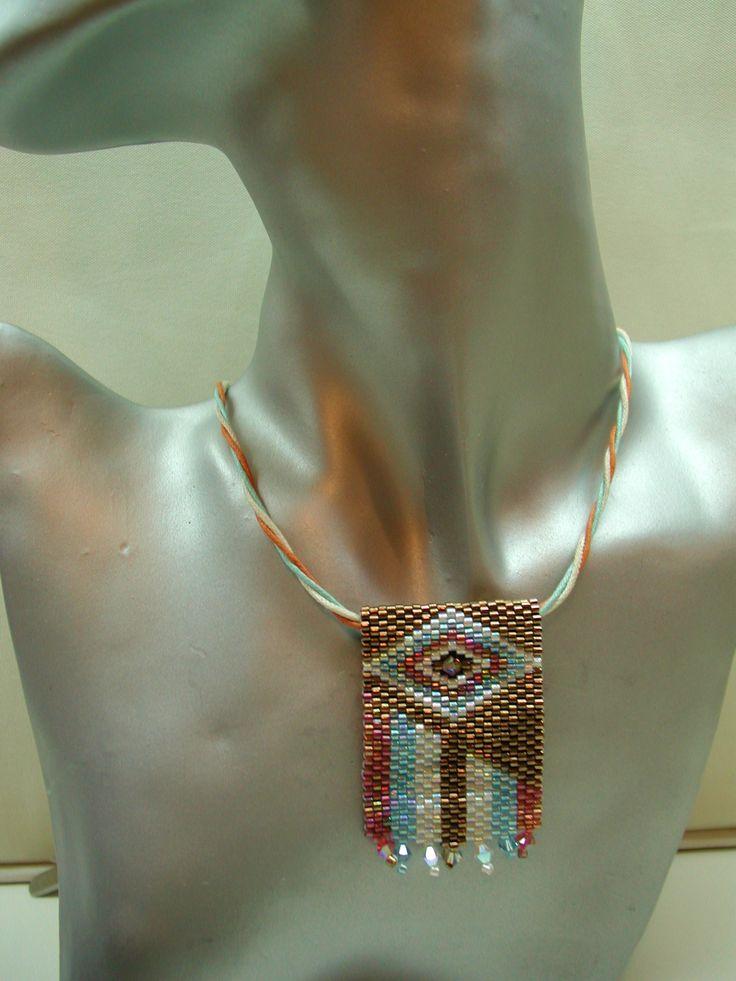 Peyote stitch necklace.