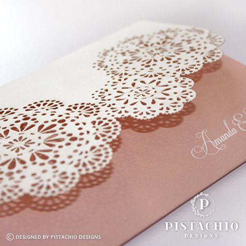 Doily love wedding invitation by www.pistachiodesigns.co.za
