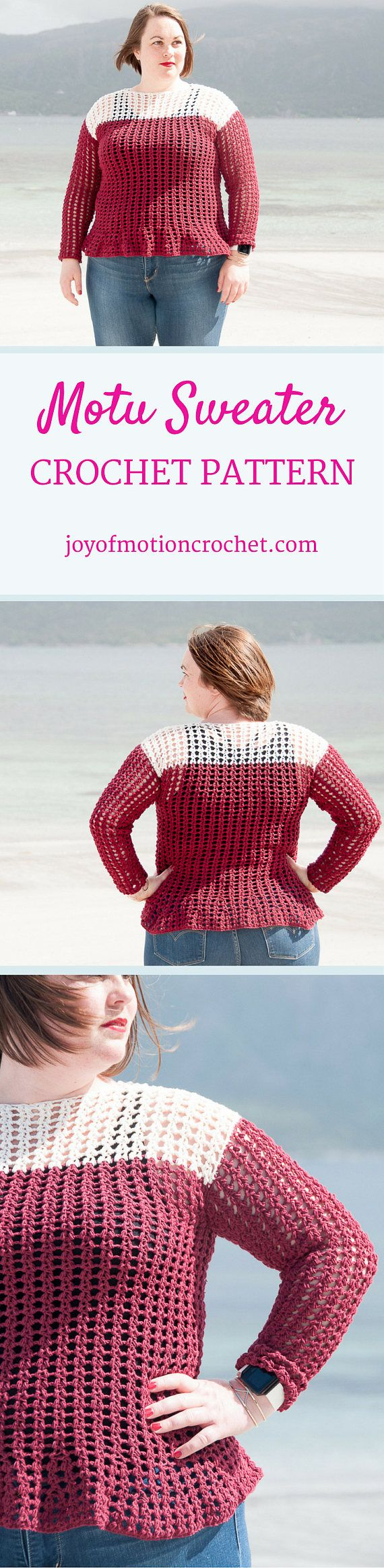 Motu Sweater Crochet Pattern  ★ Crochet pattern for the Motu Sweater, a lacy & easy crochet sweater ★ Perfect for the warmer season. ★ XS – XL. ★ Skill level: EASY ★ Language: English / US crochet terms.  The Motu Sweater crochet pattern are a lacy sweater that's perfect all year long. It's designed with cotton yarn, however you can easily make it your summer favorite with the use of wool yarn. The crochet pattern has skill lever easy & you need to learn a new crochet stitch to m...