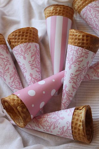 """Sugar cone wrappers- cute for kids birthday parties. Use coordinating 12"""" scrapbooking paper to match party theme/colors."""