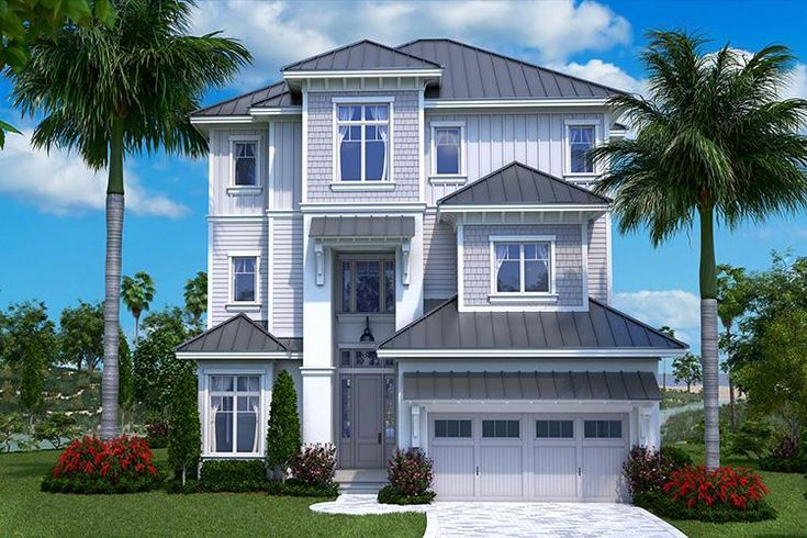 HOUSE PLAN 1018-00241 – This three tiered Coastal house plan is perfect for a narrow lot with its 43' width dimension. The interior is highlighted with approximately 4,800 square feet of living space that includes five bedrooms and five plus baths.