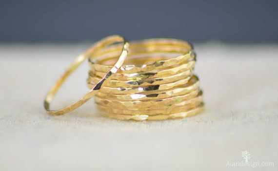 Super Thin 14k Gold Filled Stacking Ring:  These rings are rich and elegant -- glowing gold bands. Rustic, Understated Luxury. - Delicate hammered