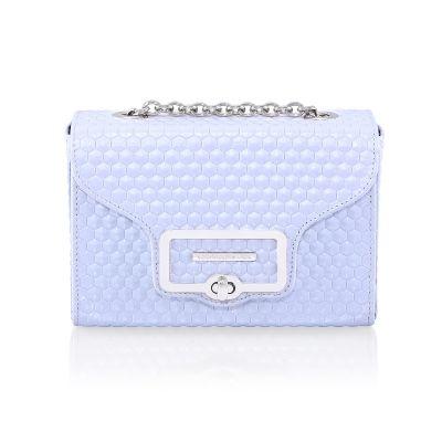 light blue leather handbag HEXAGON