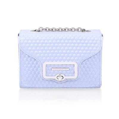 light blue leather handbag HEXAGON