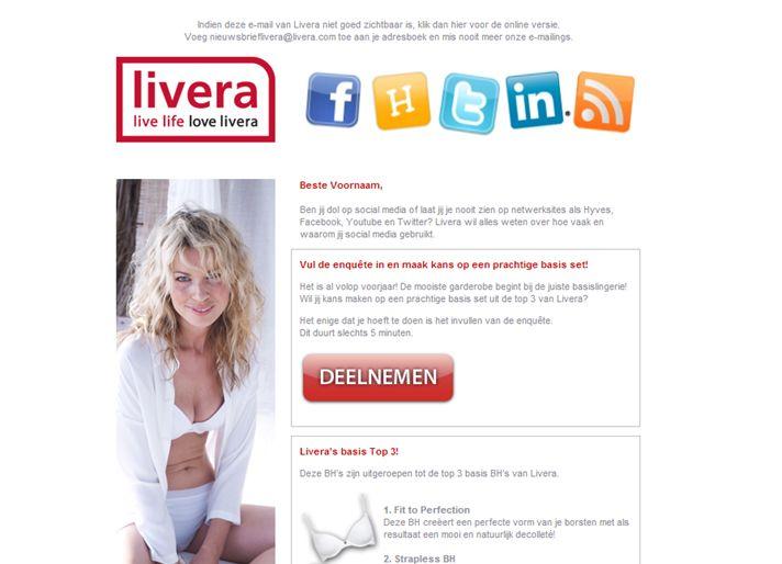Livera.nl   E-commerce - Enquete uitnodiging over gebruik social media