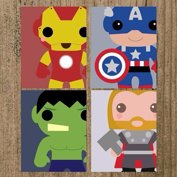 Avengers Superhero Nursery Prints Set of 4 8x10 Wall Decor SALE on Etsy, $19.89