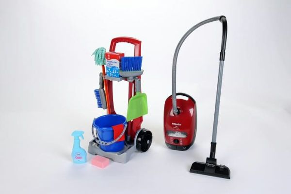 Theo Klein Cleaning Pretend Play Trolley/Miele Vacuum Combo
