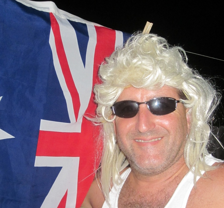 My Australian hubby dressed as the character Dazza!