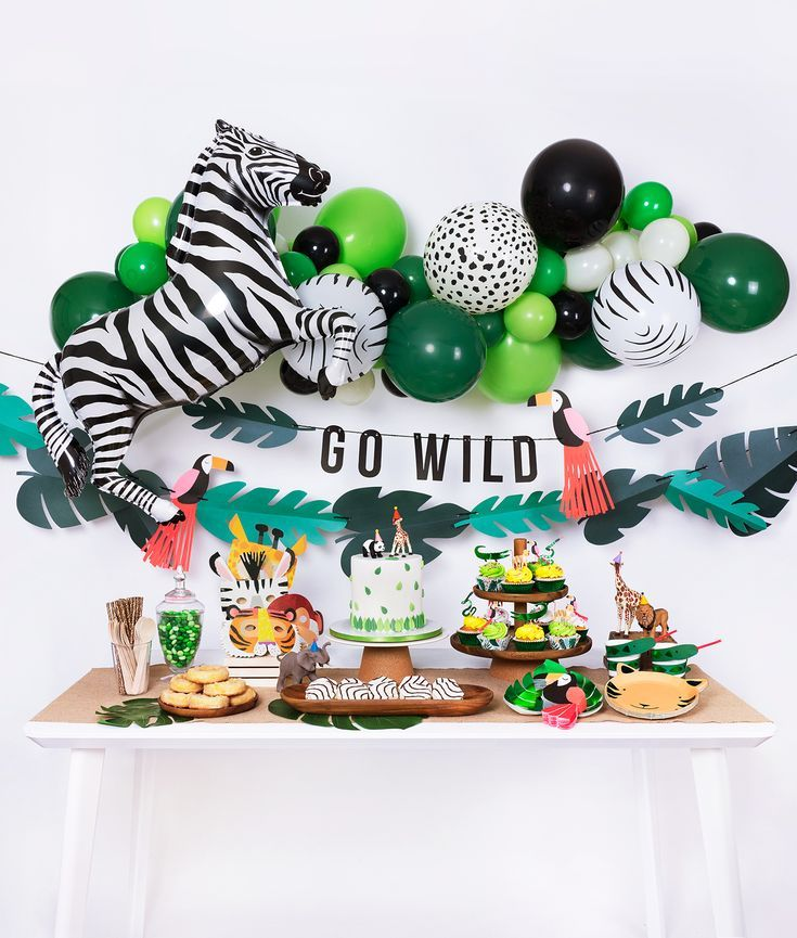 Zoo Animal Jungle Party Decorations Bundle SET Tropical Treat Box Animal Balloon