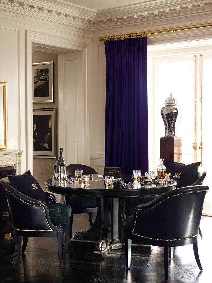 #Ralph Lauren Home The Empire Pedestal Table & Duchess Dining Chairs create a world of smart, sophisticated style for the modern Duke a...