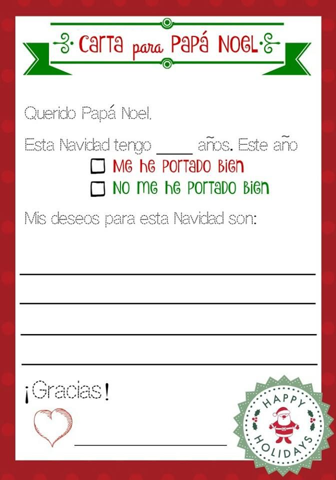 Imprime gratis Una carta para Pap Noel  Manualidades