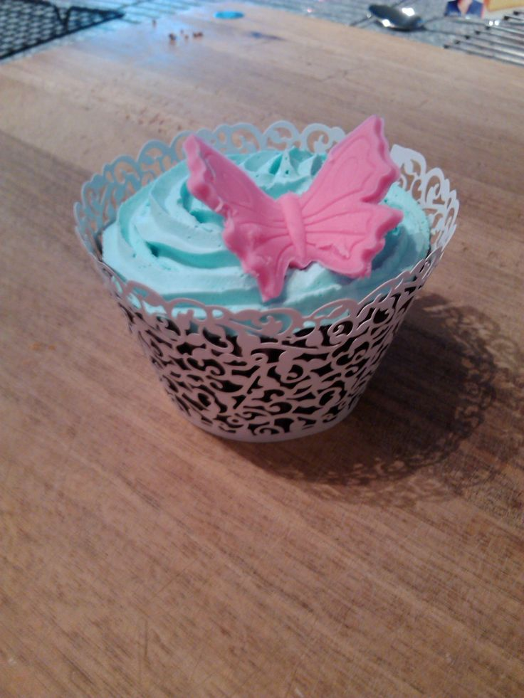 Choc hazelnut cupcake with buttercream icing and fondant butterfly