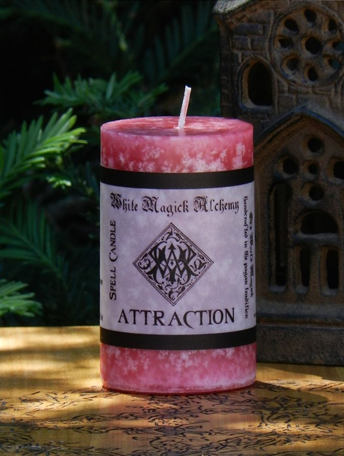 White Magick Alchemy - ATTRACTION Spell Candle . Enchanted Witchery, Love, Lust, Bewitchment Workings, $12.00 (http://www.whitemagickalchemy.com/attraction-spell-candle-enchanted-witchery-love-lust-bewitchment-workings/)
