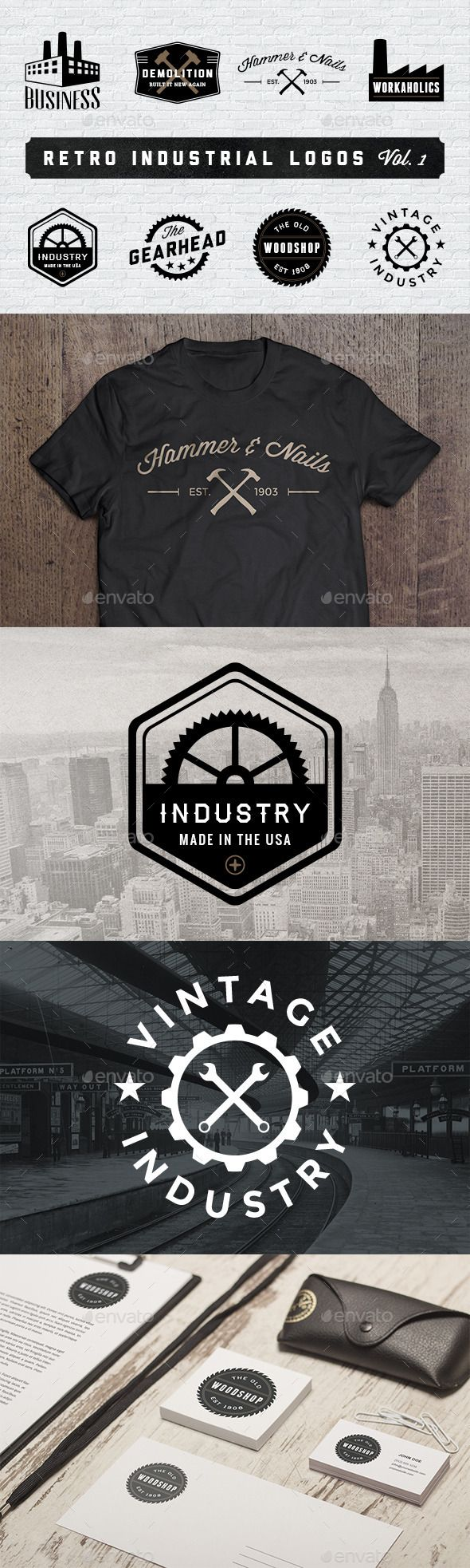 Retro Industrial Logos Tempalte #logos #design Download: http://graphicriver.net/item/retro-industrial-logos-volume-1/11685533?ref=ksioks