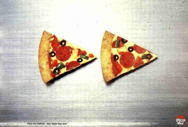 The Print Ad titled FAST FORWARD was done by J. Walter Thompson Lisbon advertising agency for product: Pizza Hut Delivery Service (brand: Pizza Hut) in Portugal. It was released in May 1998.