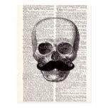 Vintage Skull with Mustache Print on Dictionary Postcard #halloween #happyhalloween #halloweenparty #halloweenmakeup #halloweencostume