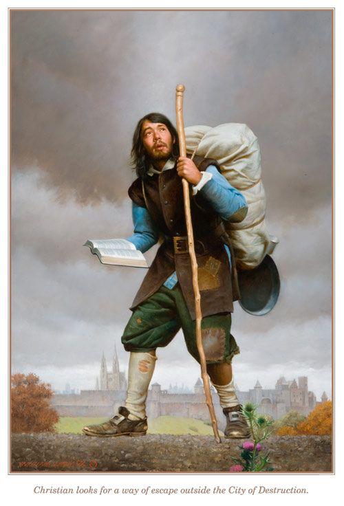 Pilgrims Progress. Basis for hiker - Christian with burden. I love the book/bible.