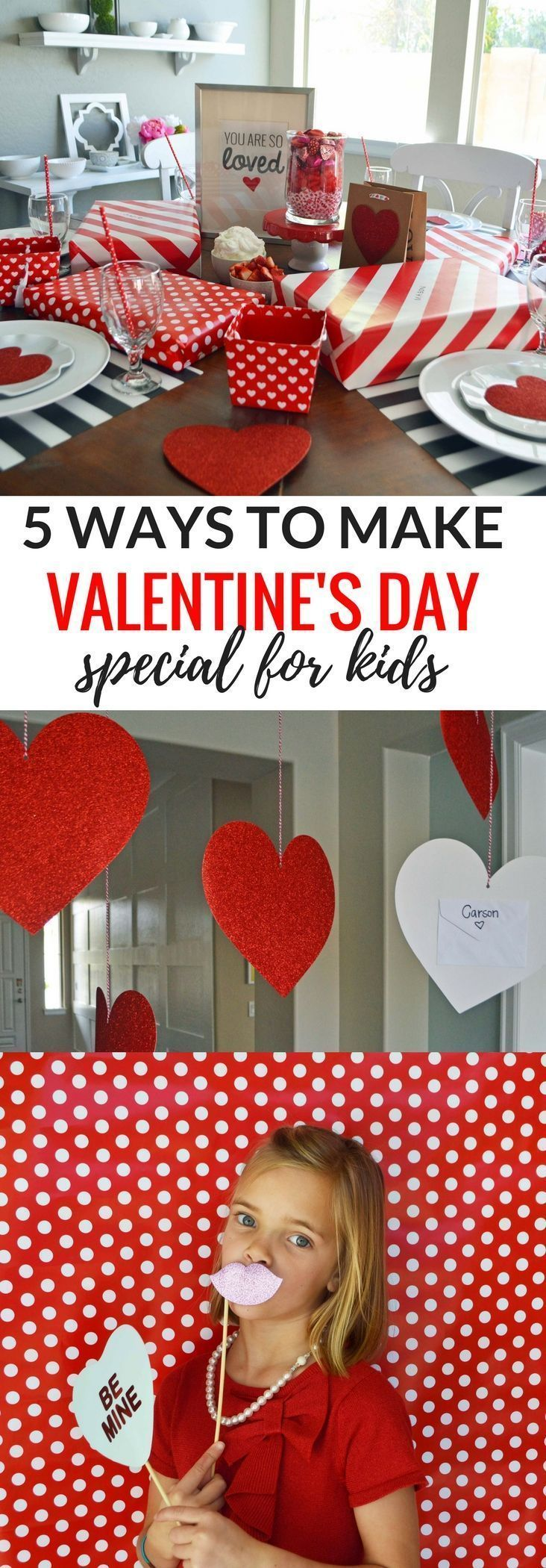 Five 5 Ways to Make Valentine's Day special for kids. Ideas on how to make Valentine's Day fun for families. Valentine's Day letters, Valentine's Day special breakfast, Valentine's Day tablescapes, Valentine's Day decor ideas, EASY Valentine's day photo shoot, Valentine's day printables, and Valentine's Day cookies. http://www.modernhoney.com