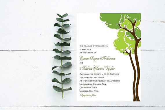 Woodsy Wedding Invitations  Outdoor wedding by Whimsicalprints