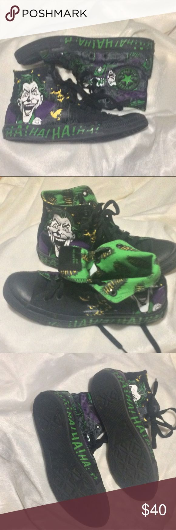 Joker and Batman Converse All Stars Really awesome and cool shoes! With large Joker and small Batman all over. Men's 6 woman's 8. Paint on the upper is in great condition. With some paint peeling around the soul edges. Tread on soles is still in great condition. Converse Shoes Sneakers