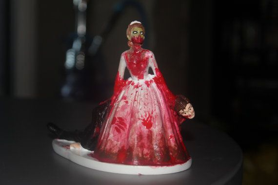 Zombie Wedding Gifts: Zombie Bride And Groom Cake Topper. On Etsy, $40.00 Squee