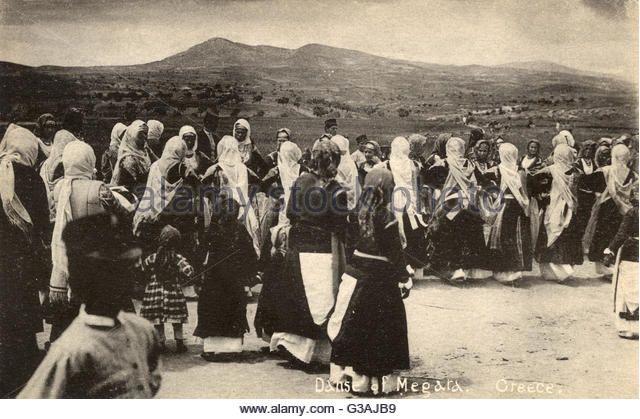 Traditional dance - The Women of Megara, Greece. Date: 1901. Underwood&Underwood