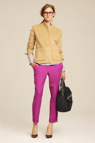 J. Crew Fall 2011 Lookbook: I don't like the colour pink but these pants are fantastic (especially with the camel coloured sweater).
