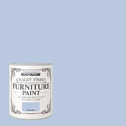 Powder Blue 125ml tester pot £4, 750ml large £12 Rust-oleum Chalk Chalky Furniture paint No priming or sanding is necessary on most surfaces, simply ensure surfaces are smooth, dry and free from contaminants.