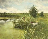 Hunting dog with flying duck von Rien Poortvliet