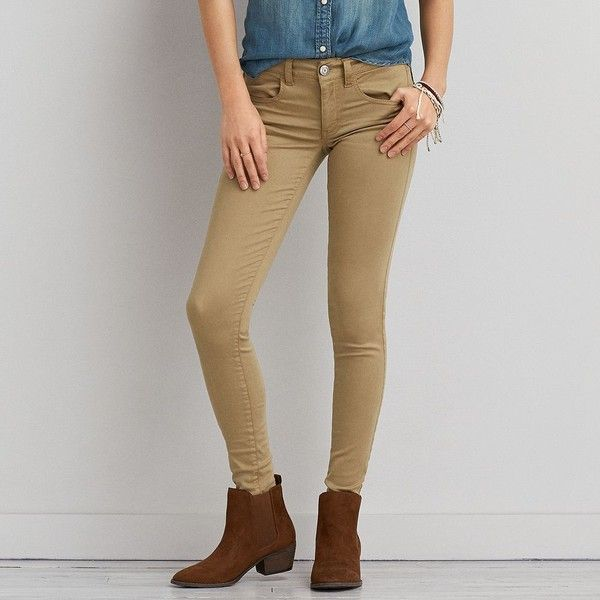 AEO Sateen X Jegging (Jeans) ($50) ❤ liked on Polyvore featuring jeans, khaki jeans, jeggings jeans, american eagle outfitters jeans, khaki jeggings and vintage jeans