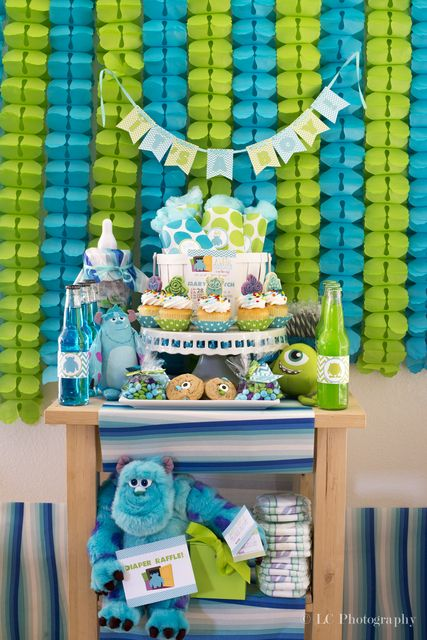 """Photo 1 of 10: Monster's Inc. Baby Shower / Baby Shower/Sip & See """"We scare because we care and we party because we can!""""   Catch My Party"""