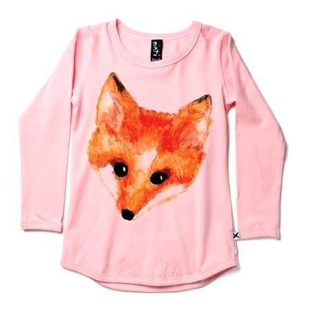 Minti Long sleeved painted fox tee Blush Pink
