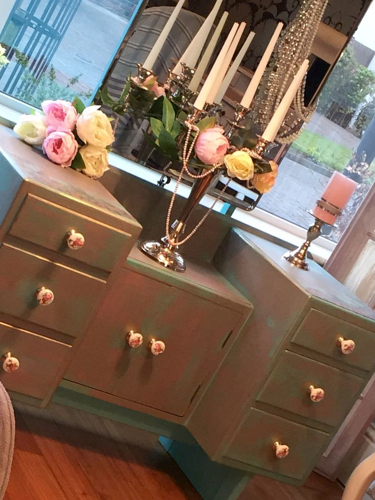Green with dry brushed pink shabby chic dresser. Check out: Shabby Chic in Laois on Facebook.