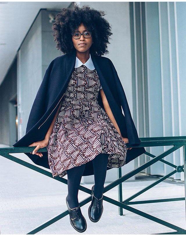 Musesuniform Wearing Guirazzi Dress Afro Hair And
