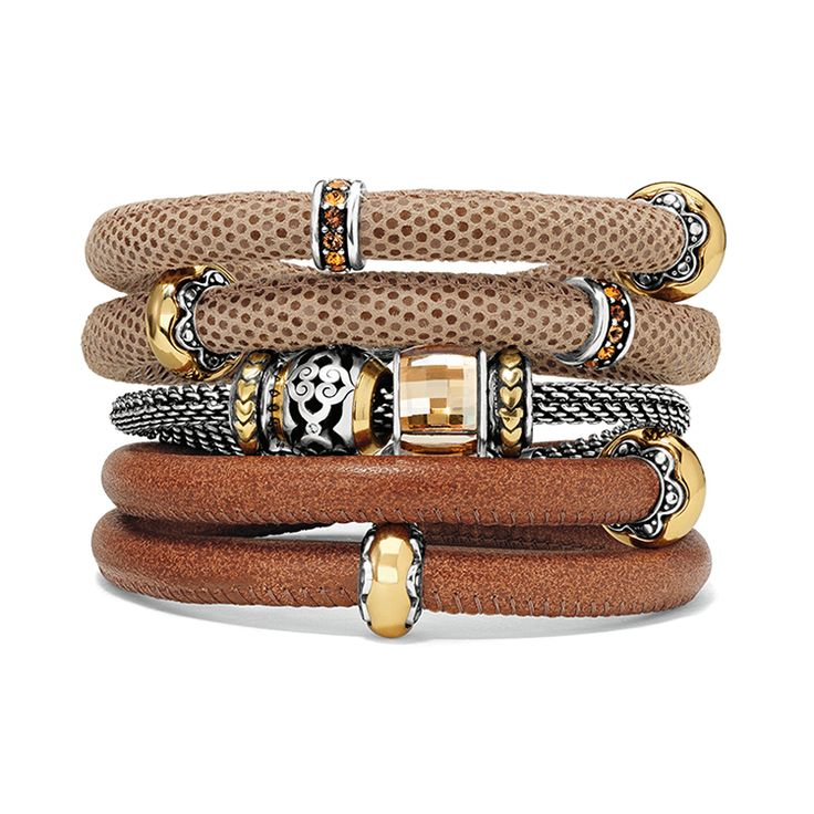 Our Woodstock leather bracelets come in a variety of warm fall colors. #BrightonCharms #WoodstockbyBrighton