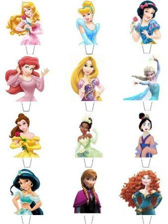 12 x Disney Princess Top Half Premium Quality STAND UP STANDUPS Fairy Muffin Cup Cake Toppers Decoration Edible Rice Wafer Paper