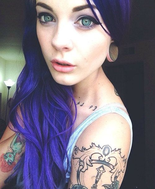 Beautiful indigo hair faded into black