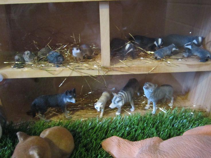woodland birthday diorama badgers, hedgehogs, wolves
