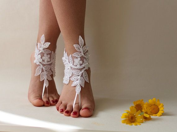 5 Pairs Bridesmaid Gift Ivory Or White Lace Wedding Barefoot Sandals French Anklet Beach