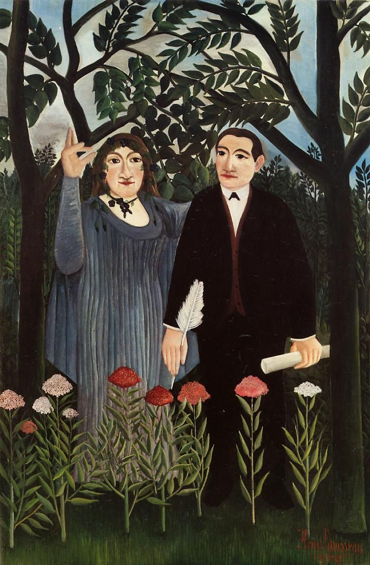 The Muse Inspiring The Poet   (Marie Laurencin & Guillaume Apollinaire) by Henri Rousseau, 1909.