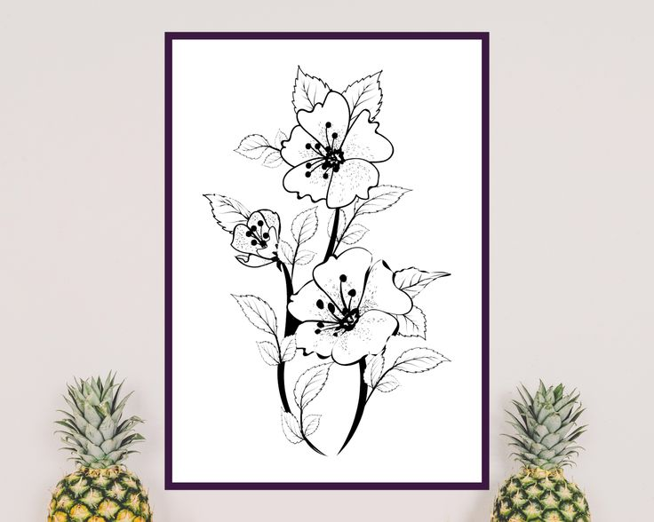 Printable black flower on white background. Ideal to decorate home. You can download and print it.  Beautful, sprint floral wall art.