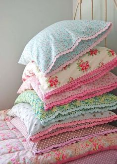 Love these handmade pillow cases with crochet trim