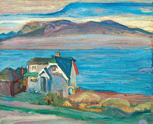 From Kitsilano by Frederick H. Varley, a depiction of the home he shared with his wife and kids on Point Grey Road. From Kitsilano Living Magazine in May of 2008: Varley's 1932 painting of the view from his now-demolished Point Grey Road house sold for $207,000. Today, 3857 Point Grey Road is on the site of the Jericho Tennis Club and its tennis bubbles. But in the late 1920s and early 1930s, it was the location of the modest home of Varley. Varley executed a luminous painting of his house…